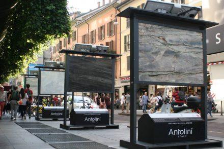 "Fuorisalone: <a href=""http://www.antolini.com/""target=""_blank"">Antolini</a> im Stadtteil Brera, Mailand."