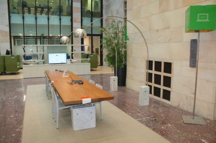 """An example of classic design with natural stone: """"Arco"""" by Achille and Pier Giacomo Castiglioni. On display at Intesa Sanpaolo Bank (along with other pieces of interest in natural stone) via Giuseppe Verdi 8, Milan just behind the Scala."""