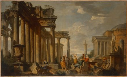 "Giovanni Paolo Panini, ""Sybil speaking amidst Roman Ruins, with the Apollo Belvedere"", 1740–50. Source: State Hermitage Museum, St Petersburg"