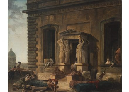 "Hubert Robert, ""Palace Entrance with a Portico and Caryatids"", 1800. Source: State Hermitage Museum, St Petersburg"