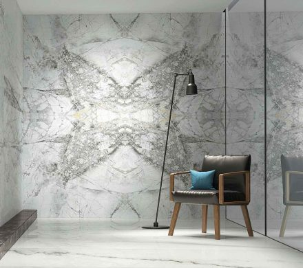 Feature wall created with Lapicida's Bluetta bookmatched porcelain tiles. Photo: Lapicida