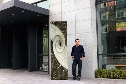 """""""Eternity"""" in front of a hotel."""