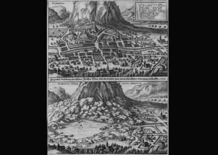 """Matthäus Merian stellte 1642 in seiner """"Topographia Helvetiae, Rhaetiae et Valesiae"""" den Monte Conto vor und nach dem Bergsturz dar. Quelle: <a href=""""https://commons.wikimedia.org/""""target=""""_blank"""">Wikipedia Commons</a>"""