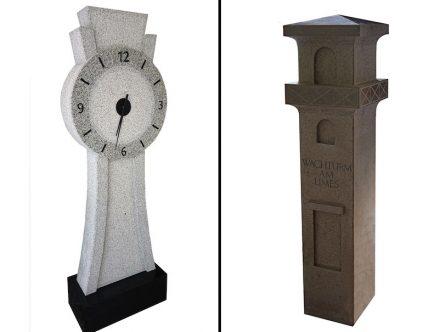 Links: Simon Fischer, Standuhr, 60 cm x 18 cm x 160 cm, Berbinger Granit. Rechts: Sophie Sowatsch, Limes Wachturm, 40 cm x 40 cm x 160 cm, Jura Kalkstein.