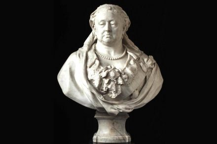 Marble bust of Queen Victoria by Sir Albert Gilbert.