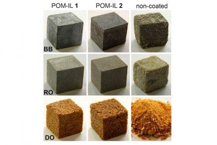 Im Laborversuch wurden verschiedene Steinsorten (von oben nach unten: Belgischer Blaustein, Romery-Stein, Dom-Stein) mit POM-IL behandelt und anschließend mit Essigsäure bedampft. Der Stein in Spalte 3 wurde nicht behandelt. Abbildung: Institut für Anorganische Chemie I