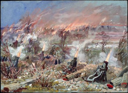 """Martin Frost, offizieller Militärmaler und selber Kriegsteilnehmer, stellte in einem seiner Gemälde eine Batterie von Minenwerfern im Einsatz dar. Das Bild ist Bestandteil der Dauerausstellung im <a href=""""http://www.wgm-rastatt.de/""""target=""""_blank"""">Wehrgeschichtlichen Museum Rastatt</a>, das uns das Bild freundlicherweise zur Verfügung gestellt hat."""