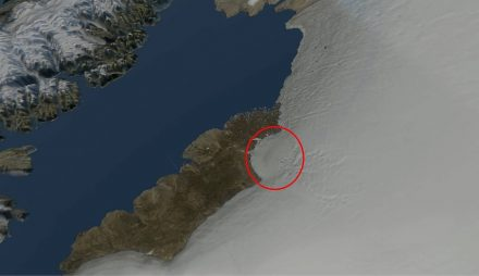Rendering of Greenland's northwestern coastline with the impact crater. Source: Natural History Museum of Denmark