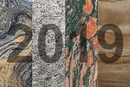 """New in our Stone Gallery: (f.l.t.r) <a href=""""https://www.stone-ideas.com/63886/nero-picasso-marble-from-turkey/""""target=""""_blank"""">marble Nero Picasso</a>, Eba Group, Turkey; <a href=""""https://www.stone-ideas.com/63522/calanca-gneiss-from-alfredo-polti/""""target=""""_blank"""">Calanca gneiss</a>, Alfredo Polti, Switzerland; <a href=""""https://www.stone-ideas.com/59595/granite-kalguvaara-from-karelia-russia/""""target=""""_blank"""">granite Kalguvaar</a>, Karelskiye Masterskiye, Kareliea, Russia; <a href=""""https://www.stone-ideas.com/60400/armenian-orient-ararat-travertine/""""target=""""_blank"""">travertine Ararat</a>, Orient Stone LLC, Armena."""
