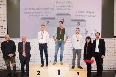 Robert Ziller (1. Sieger), Sebastian Wienerroither (2. Sieger), Jakob Mayer (3. Sieger). Foto: SkillsAustria