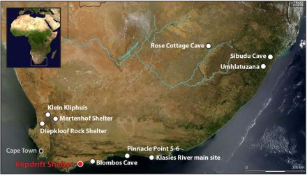 Location of the Klipdrift Shelter and other South African Howiesons Poort sites. Source: Katja Douze