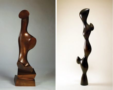 "Left: ""Daphne"", 1955, Bronze. 47 3/16 x 13 x 11 3/4 in. (119.8 x 33 x 30 cm). Stiftung Arp e.V., Berlin/Rolandswerth. © 2018 Artists Rights Society (ARS), New York/VG. Photo: Wolfgang Morell/ Stiftung Arp e.V., Berlin/Rolandswerth. Right: ""Torso with Buds"", 1961. Bronze. 74 x 12 5/8 x 11 7/8 in. (188 x 32 x 30.5 cm). Raymond and Patsy Nasher Collection, Nasher Sculpture Center, Dallas. Photo: David Heald"