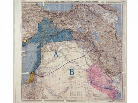 """Map of Eastern Turkey in Asia,Syria and Western Persia"" showing Sykes-Picot line 1910 –1916, London. © The National Archives, UK"