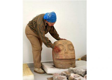 Sculpture depicting Xipe-Totec's skinned head.
