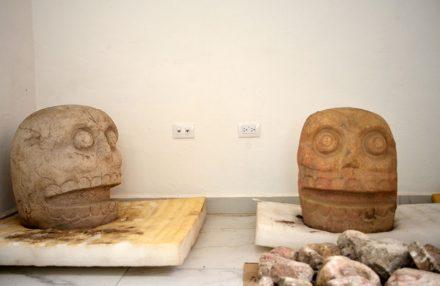 Sculptures (left: probably volcanic rock Rhyolite) depicting Xipe-Totec's skinned head.