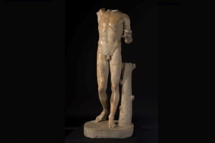 The sculpture in its current headless state, missing its right arm. Roman, Statue of Bacchus, 2nd century, marble, gift of Dr. and Mrs. John D. Humber