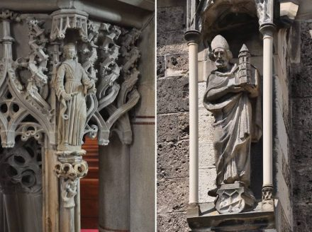 Bad Urach, Church of Saint Amandus: figure at the pulpit (left), figure at the façade (right).
