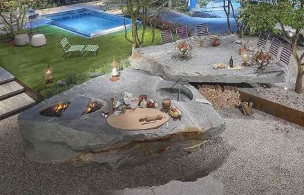 "A ""BBQ and epicurean block"" with 23 t of stone Swiss Alfredo Polti Company had presented at the Giardina Garden Fair in Zurich in 2017. Photo: Alfredo Polti company"