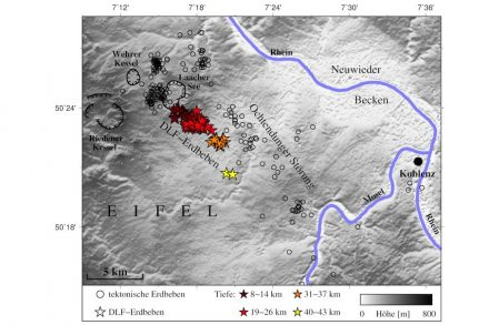 Darstellung der tektonischen Erdbeben (Kreise) und DLF-Erdbeben (Sterne) in der Osteifel. Quelle: Hensch et al.
