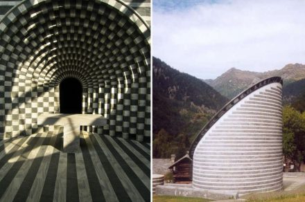 "Mario Botta: San Giovanni Battista, Mogno. Fotos: (links) Loilo92 / Wikimedia Commons, (rechts) Foto: Makemake / <a href=""https://commons.wikimedia.org/wiki/Main_Page""target=""_blank"">Wikimedia Commons</a>"