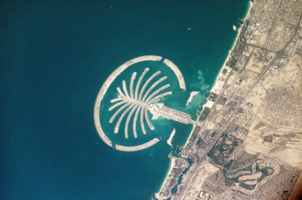 """Man-made island of Jumeirah in Dubai, photo 2005 taken from the International Space Station. Photo: Nasa / <a href=""""https://commons.wikimedia.org/""""target=""""_blank"""">Wikimedia Commons</a>"""