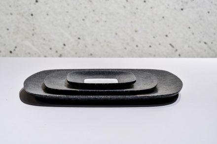 "Tray ""Caparaó"". Design: Ricardo Freisleben. Company: Marbrasa. Stone: granite Preto São Gabriel."
