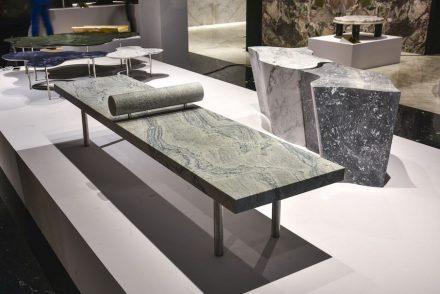 "Bench ""Domino"". Design: Claudio Moreira Salles. Company: Corcovado Brasigran. Stone: granite Antartic White."