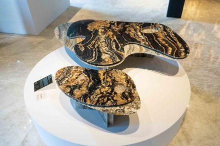 """Coffee table """"Tapis"""" series. Design: Luciano Dalla Marta. Company: Guidoni. Stone: marble Maximus (above), granite Amarone (below)."""