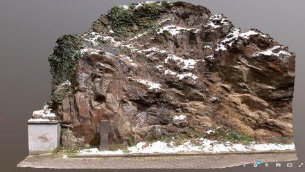 Digitale Darstellung der Cloos-Falte bei Altenburg im Ahrtal. Sie gilt als eines der bemerkenswertesten geologischen Naturdenkmäler Europas.