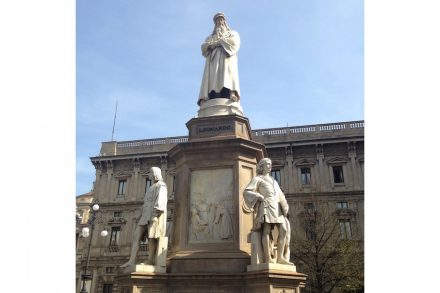 Monument dedicated to Leonardo da Vinci in front of Milan's Scala.