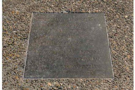 "herman de vries (Alkmaar, 1931), ""my poetry is the world ..."", 1974, Belgian bluestone, gold paint, 4.2 × 60 × 60 cm."