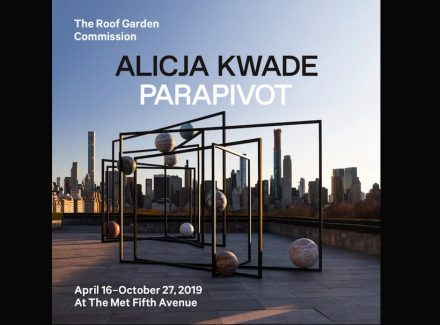 "Alicja Kwade's ""ParaPivot I"" and ""ParaPivot II"" at the MET's Cantor Roof Garden."