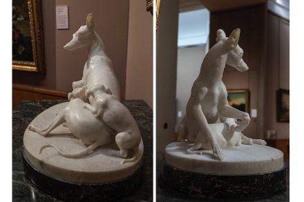 """Joseph Gott: """"Greyhound with Puppies."""""""