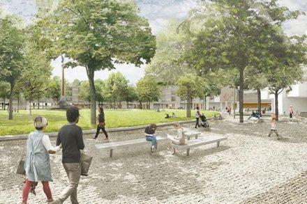 Entwurf des sanierten Mehringplatzes mit Natursteinpflaster. Quelle: Lavaland