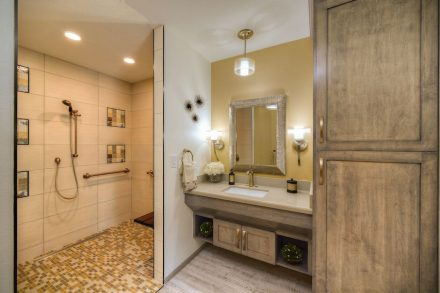 CID-Awards: Special Recognition - Use of Tile for Aging in Place.New Aging in Place Shower; Scottsdale, AZ, 55+ TLC Interior Design, LLC.