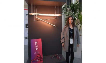 "Prize winner: ""O-lite"" was the name of a lamp by Öykü Ceylan of Marmara University. She implemented ""AkdoTwin"" thin stone by Akdo."