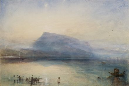 Joseph Mallord William Turner, The Blue Rigi, Sunrise, 1842, Aquarell auf Papier, 29.7 x 45 cm, © Tate, London, 2019.