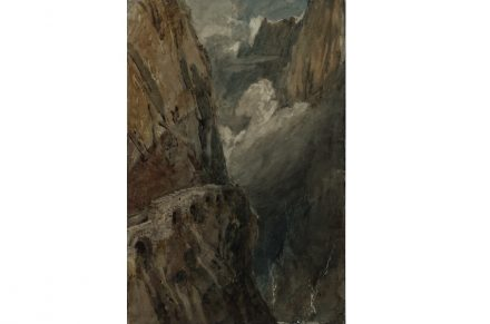 Joseph Mallord William Turner, The Schollenen Gorge from the Devil's Bridge. Pass of St Gotthard, 1802, Graphit, Aquarell und Gouache auf Papier, 47 x 31.4 cm, © Tate, London, 2019.