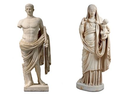 Left: Claudius in heroic nudity. Paris, Louvre. Right: Messalina. Louvre.