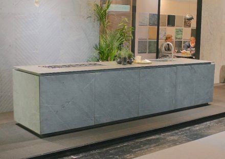 "For a kitchen island, designers use to choose the same stone for the countertop as for the sides. The photo shows Italian <a href=""https://www.bagnara.net/""target=""_blank"">Bagnara</a> company at BAU fair in Munich 2019."