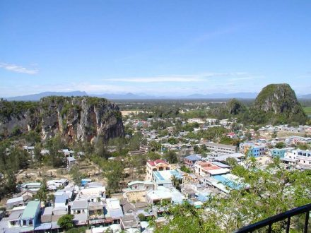 The village Non Nuoc with the Marble Mountains in the foreground.