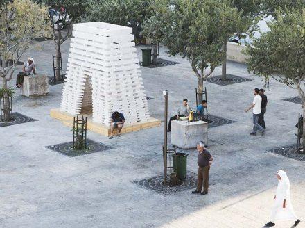 "Elias and Yousef Anastas (AAU Anastas): ""Stonesourcing Space"" at Nativity Square in Bethlehem. Photo: AAU Anastas"