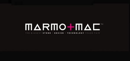 The current logo of Marmomac.