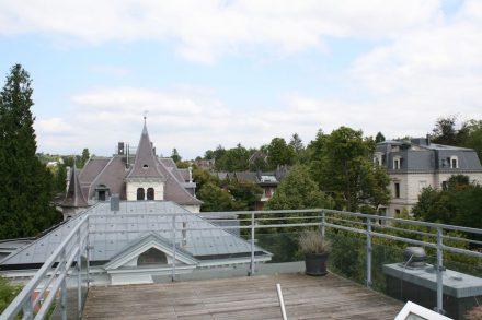 Blick vom ausgebauten Dachgeschoss auf das Östliche Villenviertel.