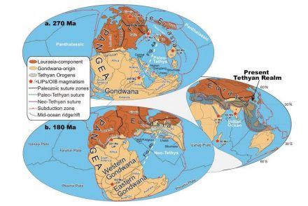 These are global paleomagnetic plate reconstructions a. 270 Ma, b. 180 Ma, and inset the Present Tethyan Realm.