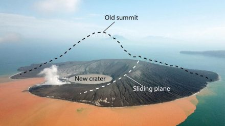 A drone image 2 weeks after the flank collapsed. The volcano peak that once measured 320 m is missing. Source: GFZ