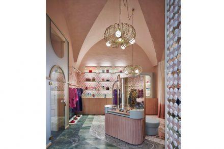 """Cristina Celestino's """"Bottonato"""" from the Lampassi collection in the Pink Closet boutique in Ravello. Photo: Davide Lovatti"""