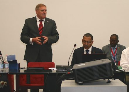 Euroroc General Secretary Gerd Merke (left) welcomes Diamantino Pedro de Azevedo, Minister for Mineral Resources of Angola (second from left).