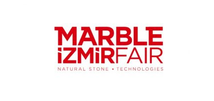 The logo of Marble Fair in Izmir.