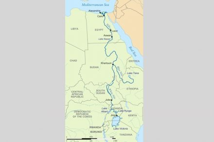 """The Nile on its course of about 6650 km ending in a giant delta in the Mediterranean. Source: Hel-Hama / <a href=""""https://commons.wikimedia.org/""""target=""""_blank"""">Wikimedia Commons</a>"""